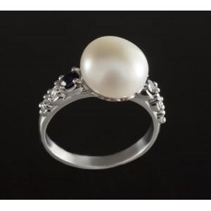 Серебряное кольцо с жемчугом 1784/9р Фиджи фото
