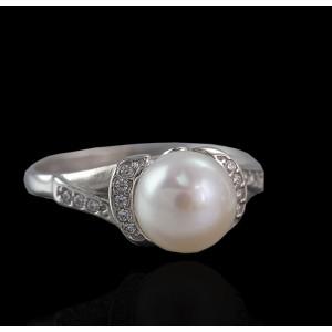 Серебряное кольцо с жемчугом 1785/9р Крендель фото