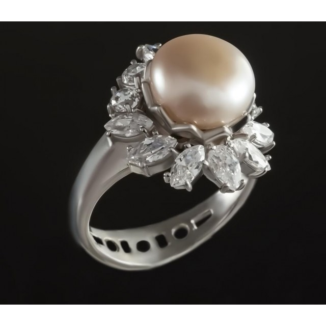 Серебряное кольцо с жемчугом 1788/9р Лиза