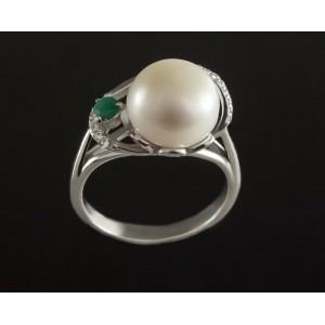 Серебряное кольцо с жемчугом 1789/9р Эврика фото
