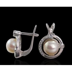 Серебряные серьги с жемчугом 2259/9р Таир фото