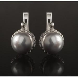 Серебряные серьги с жемчугом 2262/9р Гинея Маленькая фото