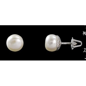 Серебряные серьги-гвоздики с жемчугом 2278/9р Жемчуг новый фото