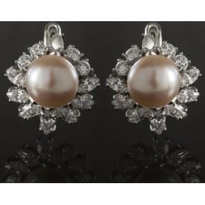 Серебряные серьги с жемчугом 2290/9р Лиза фото