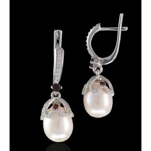 Серебряные серьги с жемчугом 2296/9р Санлиз в камнях фото