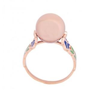 Золотое кольцо с эмалью 300358Е