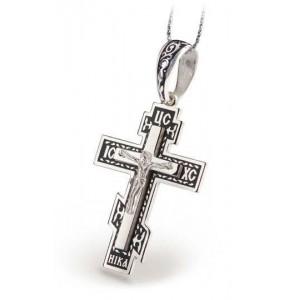 Серебряный крест с эмалью 108