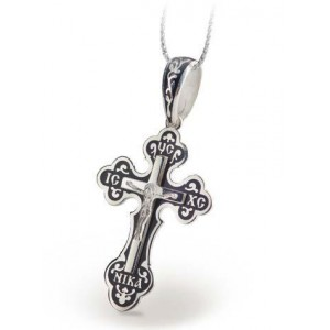 Серебряный крест с эмалью 118
