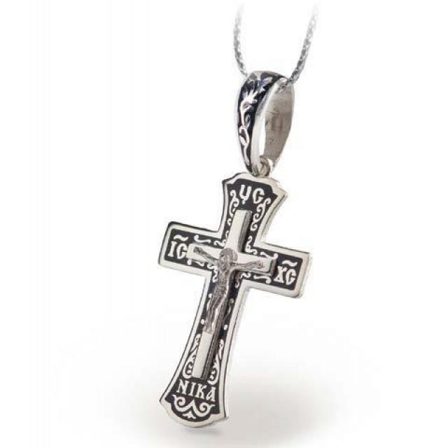 Серебряный крест с эмалью 119