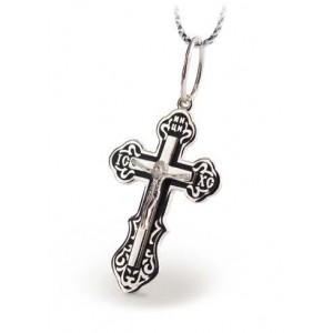 Серебряный крест с эмалью 122