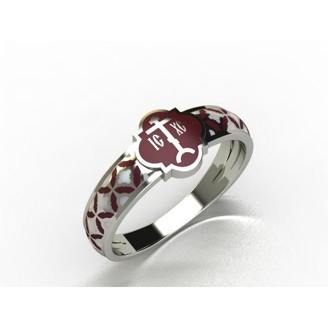 Золотое обручальное кольцо с эмалью 13009