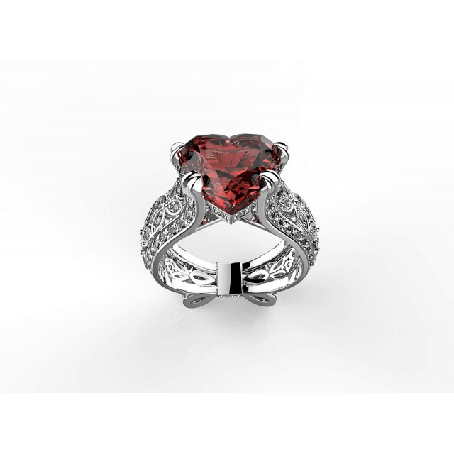 Золотое кольцо с сердцем 140071 фото