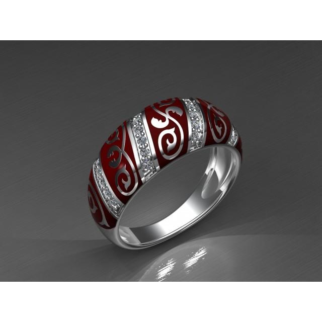 Золотое обручальное кольцо с эмалью 1400210 фото