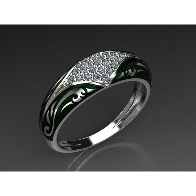 Золотое обручальное кольцо с эмалью 1400310