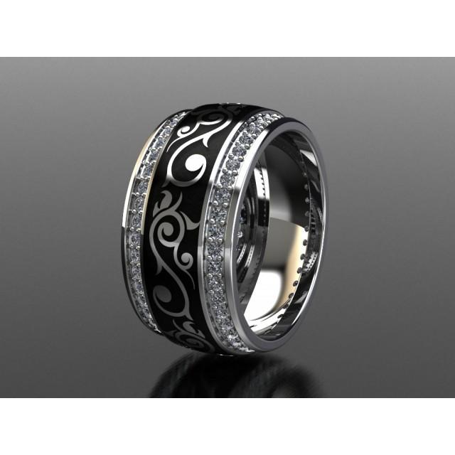 Золотое обручальное кольцо с эмалью 1400610 фото