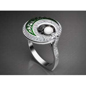 Золотое кольцо с эмалью 1400810