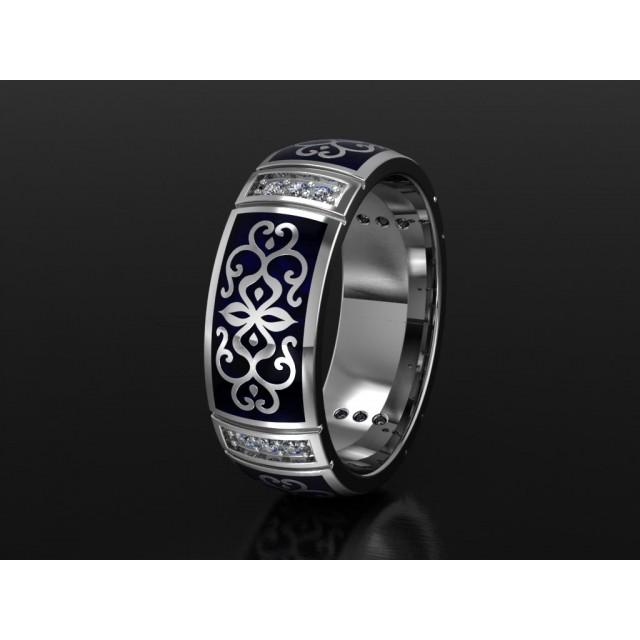 Золотое обручальное кольцо с эмалью 1400910 фото