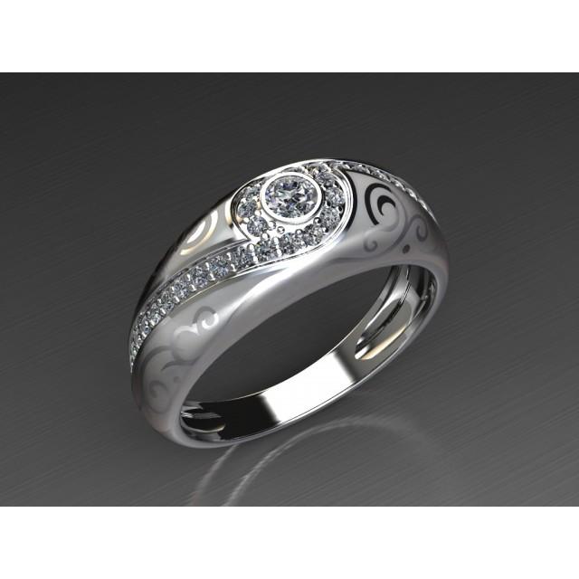Золотое обручальное кольцо с эмалью 1401110
