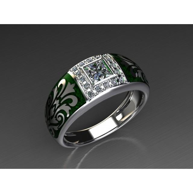 Золотое обручальное кольцо с эмалью 1401210 фото