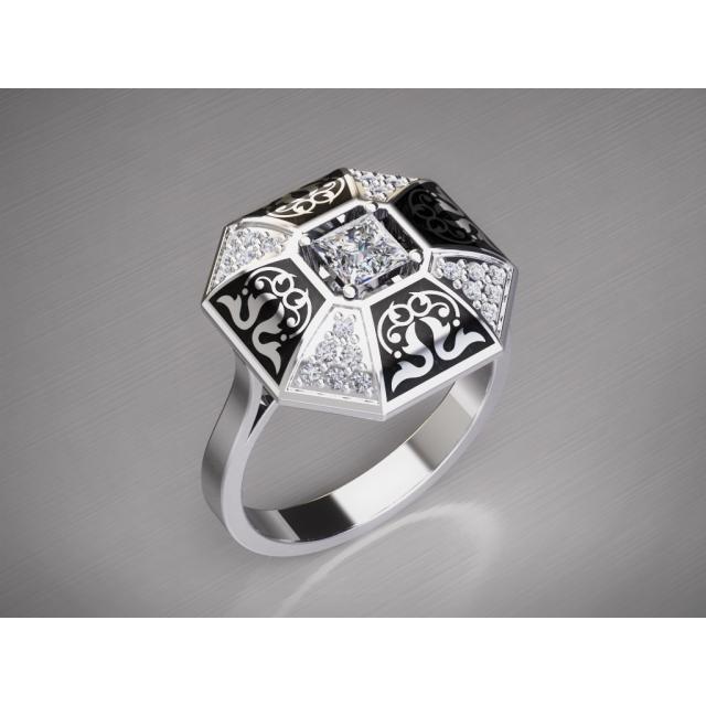 Золотое кольцо с эмалью 1401310
