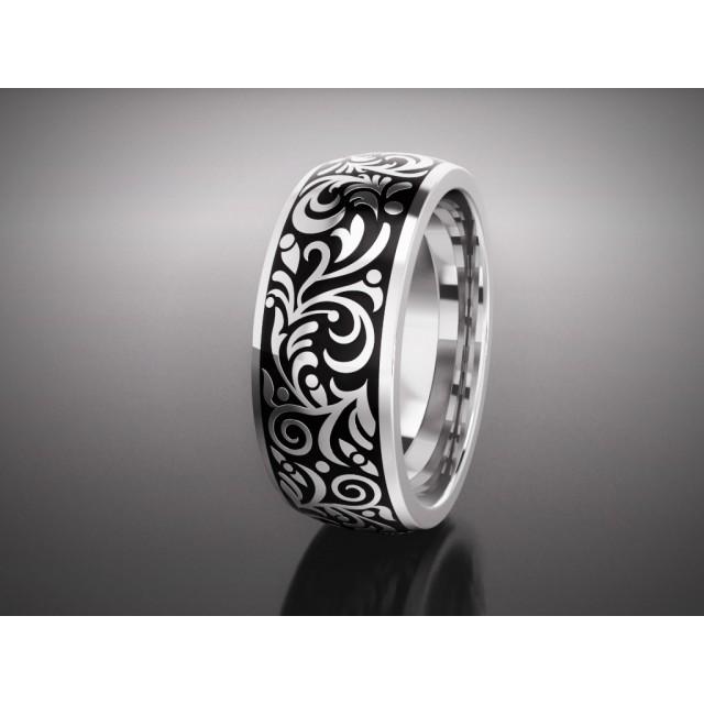 Золотое обручальное кольцо с эмалью 16002