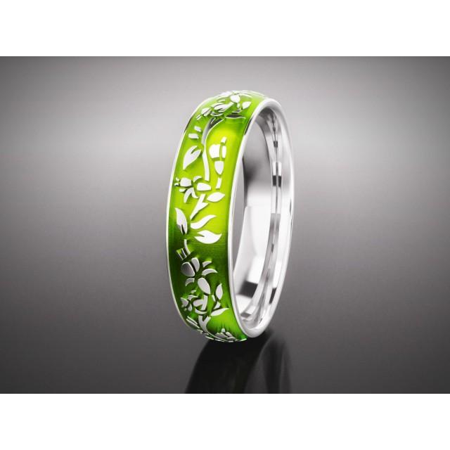 Золотое обручальное кольцо с эмалью 16005 фото