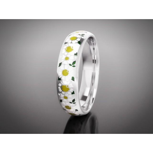Золотое обручальное кольцо с эмалью 16006 фото