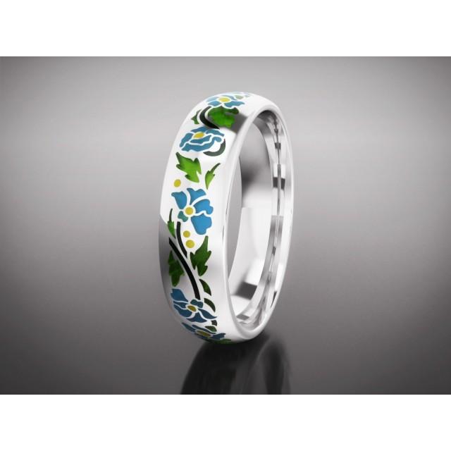 Золотое обручальное кольцо с эмалью 16007