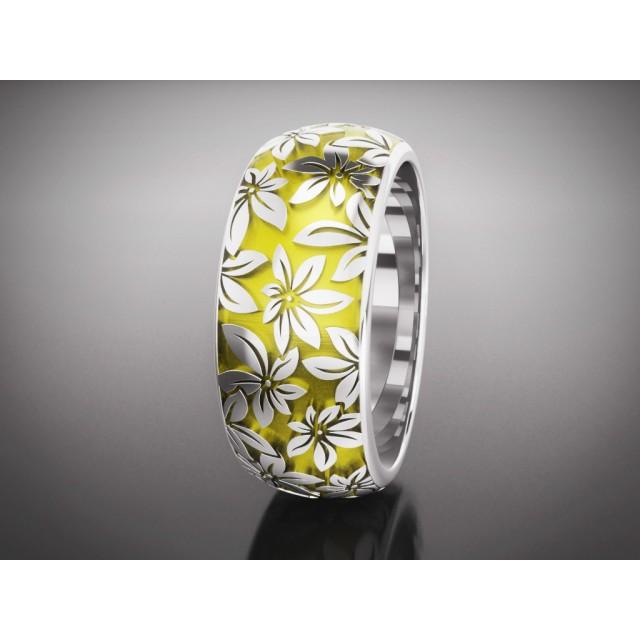Золотое обручальное кольцо с эмалью 16013