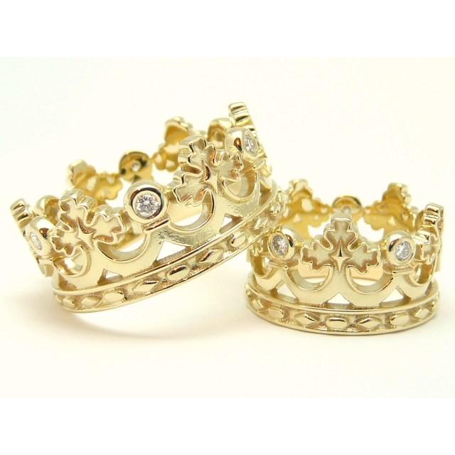 Золотое обручальное кольцо корона 412920