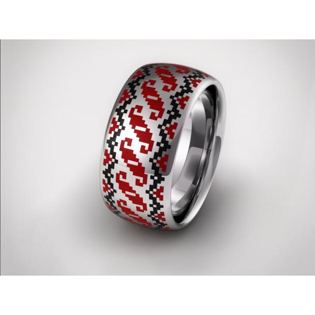 Золотое обручальное кольцо с эмалью 19001 фото
