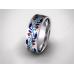 Золотое обручальное кольцо с эмалью 19006 фото