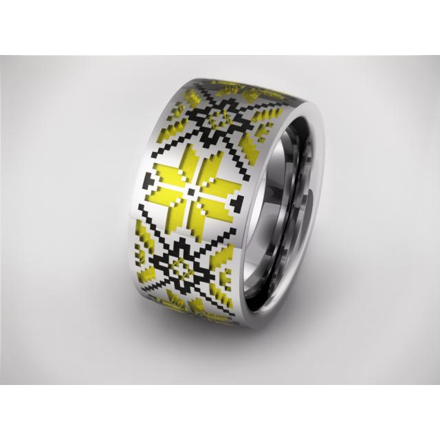 Золотое обручальное кольцо с эмалью 19019