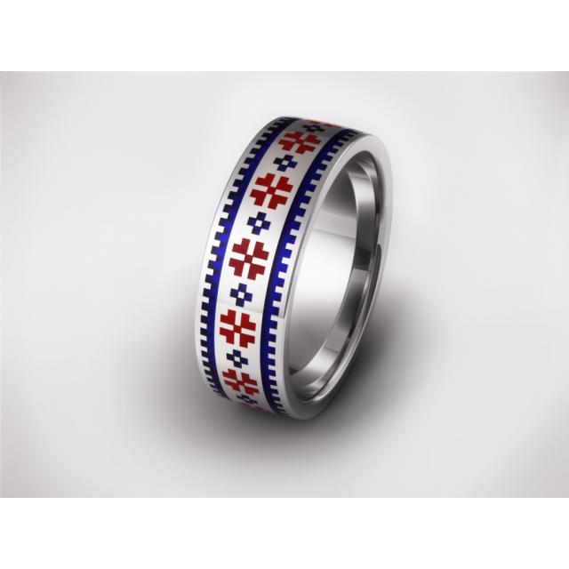 Золотое обручальное кольцо с эмалью 19022