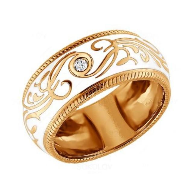 Золотое обручальное кольцо с эмалью 415107