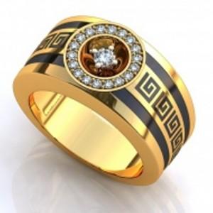 Золотое обручальное кольцо с эмалью 19876