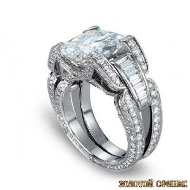 Золотое кольцо с цирконами 30024 фото