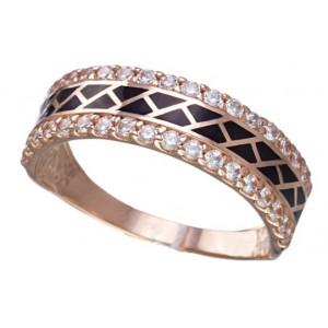 Золотое кольцо с эмалью 380147