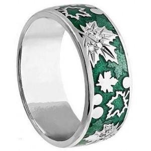 Золотое обручальное кольцо с эмалью 410177