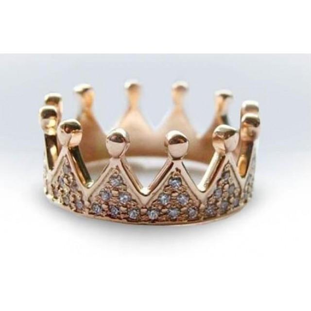 Золотое обручальное кольцо корона 412922