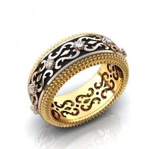 Золотое обручальное кольцо с эмалью 410181
