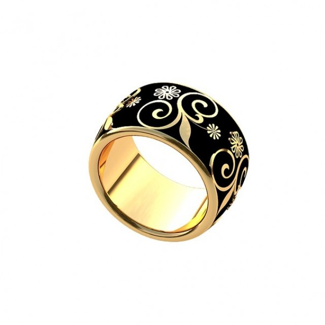Золотое обручальное кольцо с эмалью 410175