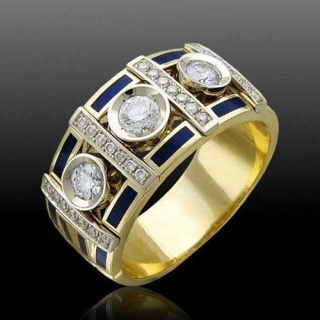 Золотое обручальное кольцо с эмалью 410179 фото