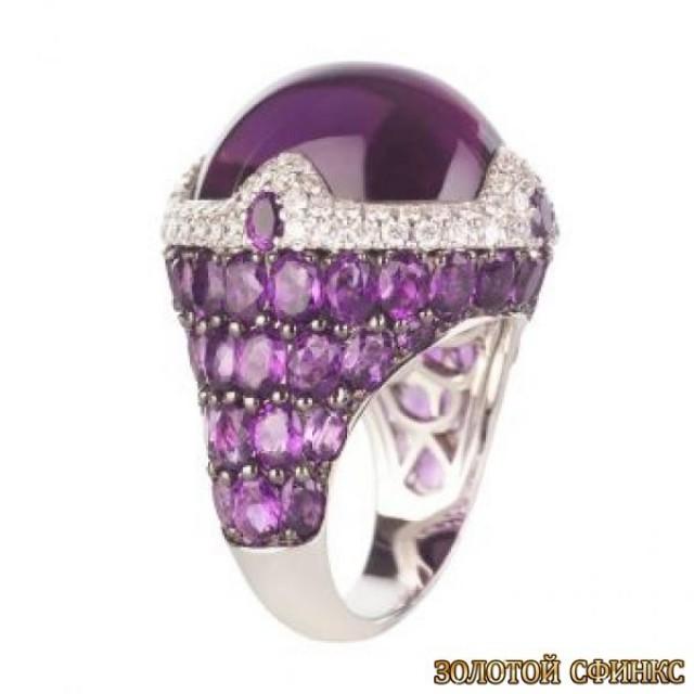 Золотое кольцо с цирконами 30064ay