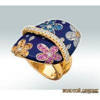 Золотое кольцо с цирконами 30079bbi