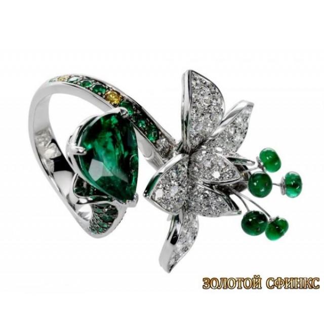Золотое кольцо с цирконами 30085br