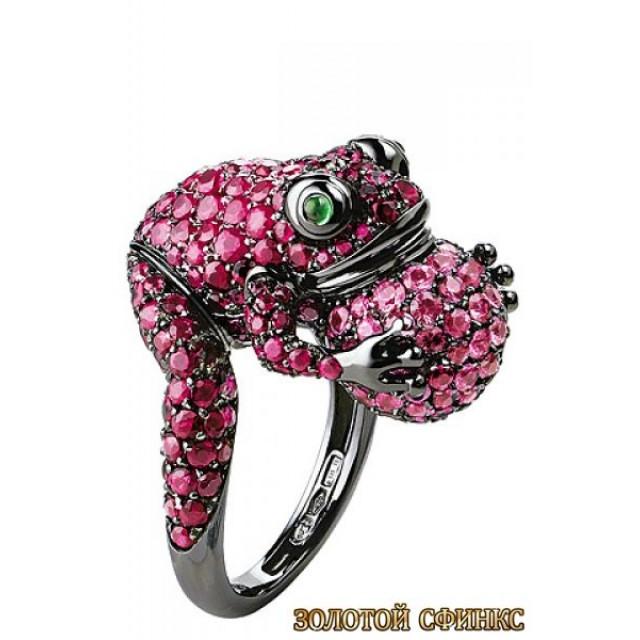 Золотое кольцо с цирконами 30107bn