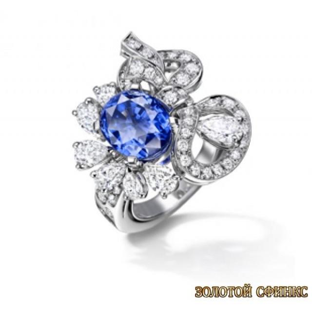 Золотое кольцо с цирконами 30113bt