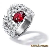 Золотое кольцо с цирконами 30122bt