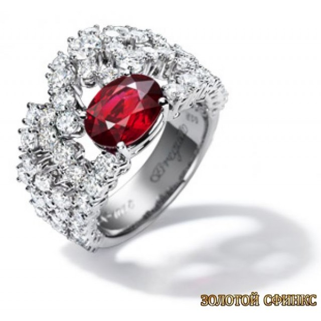 Золотое кольцо с цирконами 30122bt фото